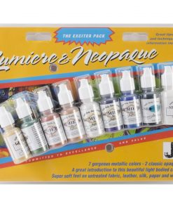 Jacquard Lumiere and Neopaque Acrylic Paint Exciter Pack – 7 metallics and 2 opaques
