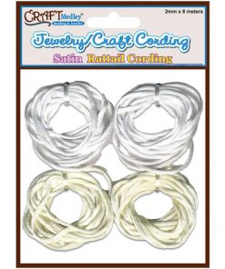 Satin Rattail Cording, White and Cream - 2mm x 8m