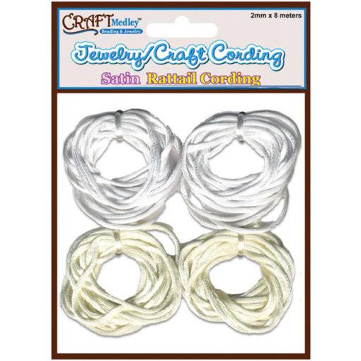 Satin Rattail Cording, White and Cream - 2mm x 8m