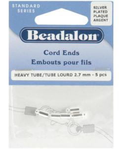 Beadalon Cord Ends - Silver Plate 5/Pkg