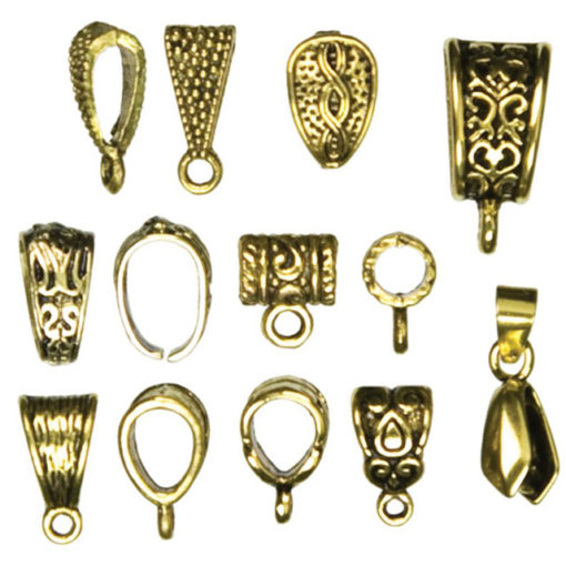 Jewellery Basics - Mixed Bails, Gold (13 pieces)