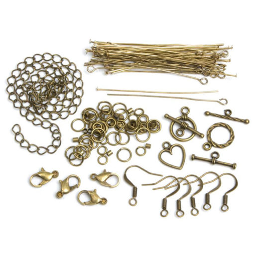 Jewellery Basics - Mixed Findings Starter Pack - Antique Gold (145 pieces)