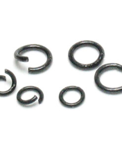 Jewellery Basics - Open jump ring mix, black - 4mm to 6mm (400 pieces)