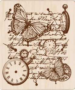 Mounted Rubber Stamp - Time Flies Collage
