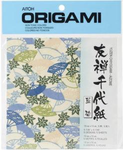 Aitoh Origami Paper - Yuzen Chiyogam - Aizome (Blue)