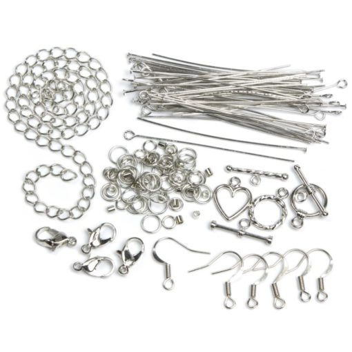 Jewellery Basics – Mixed Findings Starter Pack – Silver (145 pieces)