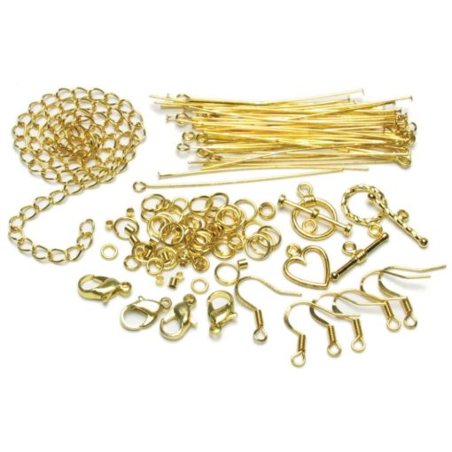 Jewellery Basics – Mixed Findings Starter Pack – Gold (145 pieces)