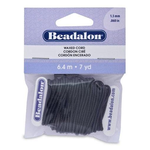 Beadalon 1.5 mm Black Korean Wax Cord