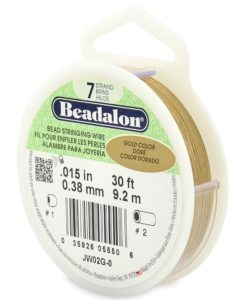 Beadalon 7 Strand Bead Stringing Wire, .015 in (0.38 mm), Gold Color, 9.2 m (30 ft)