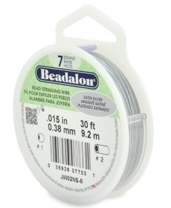 Beadalon 7 Strand Bead Stringing Wire, 0.38 mm (.015 in), Satin Silver, 9.2 m (30 ft)