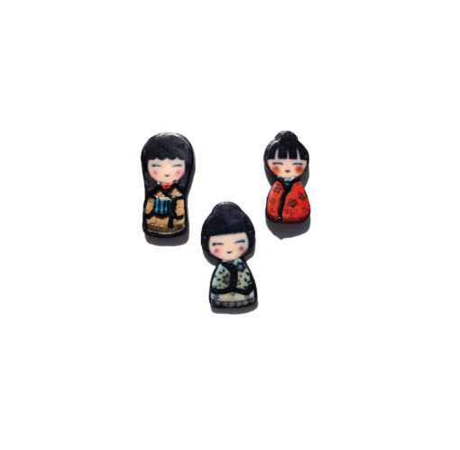 Mounted Rubber Stamps – Japanese Dolls (set of 3).3