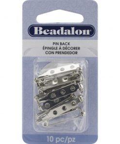 Bar Pin Backs - 25mm, Rhodium Plated, 10pkg.2