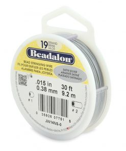 Beadalon 19 Strand Bead Stringing Wire, 0.38 mm (.015 in), Satin Silver, 9.2 m (30 ft)