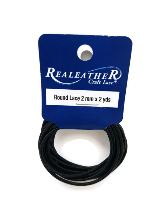 2mm Round Leather - Black (2 metres)