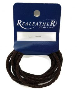 3mm Round Braided Leather Cord - Brown (1 metre)