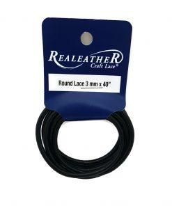 3mm Round Leather - Black (1 metre)