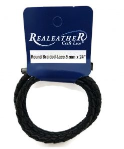 5mm Round Braided Leather Cord - Black (61 cm)