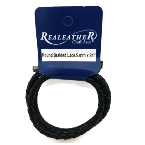 5mm Round Braided Leather Cord - Black (61 cm)