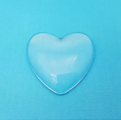 Glass Heart Domed Cabochon 25mm x 25mm