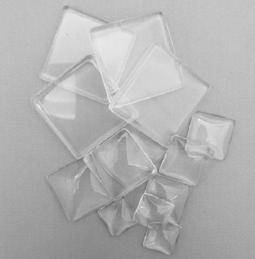 Glass Pendant Small Square Cabochon 23mmx23mm.1