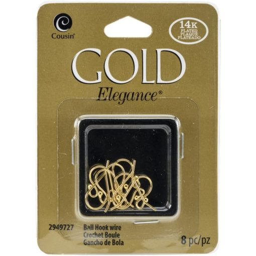 14k Plated Gold Elegance Small Ball Hook Ear Wire 8Pkg.2