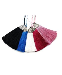 80mm Tassel with Silver Top - Black