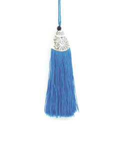 80mm Tassel with Silver Head - Cyan.1