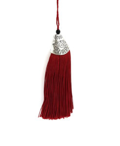 80mm Tassel with Silver Top - Claret