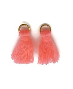 Pair of 25mm Tassels with Jump Rings - Bright Pink