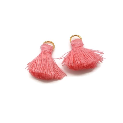 Pair of 25mm Tassels with Jump Rings - Coral