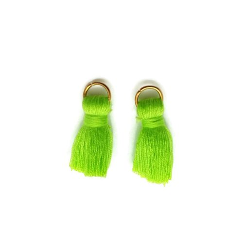 Pair of 25mm Tassels with Jump Rings - Lime Green