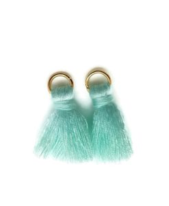 Pair of 25mm Tassels with Jump Rings - Lt Turquoise