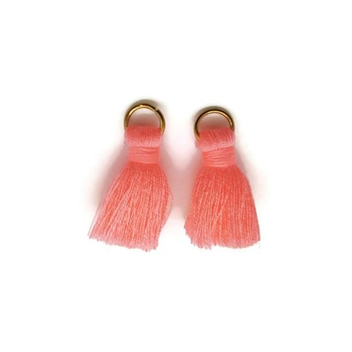 Pair of 25mm Tassels with Jump Rings - Salmon Pink.1