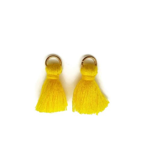 Pair of 25mm Tassels with Jump Rings - Yellow.1