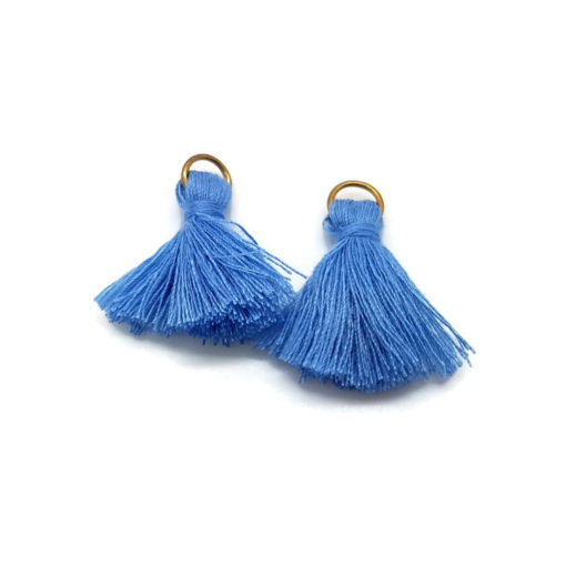 Pair of 25mm Tassels with Jump Rings - Blue