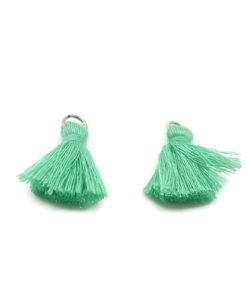 Pair of 25mm Tassels with Jump Rings - Fern