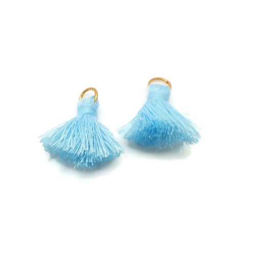 Pair of 25mm Tassels with Jump Rings - Light Blue