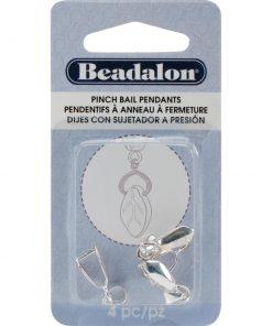 Beadalon Silver Pinch Bails, (4 pieces)