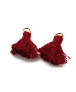 Pair of 25mm Tassels with Jump Rings - Maroon