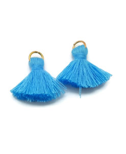 Pair of 25mm Tassels with Jump Rings - Sky