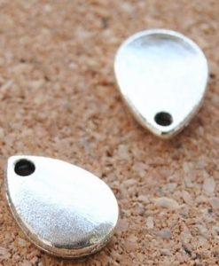 Teardrop Charms - Antique Silver, 6 per pkg