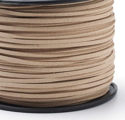 Faux Suede Cord, 3mm x 1.5mm - Natural