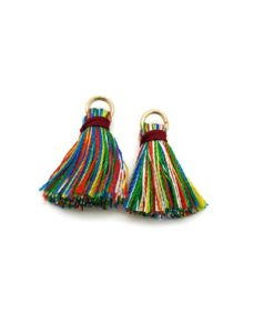 Pair of 25mm Tassels with Jump Rings - Multi