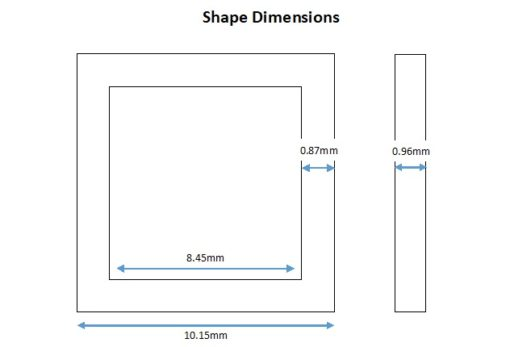 Rhodium Plated Square Shape - 10mm (6 Pkg).1