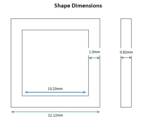 Rhodium Plated Square Shape - 12mm (6 Pkg).1