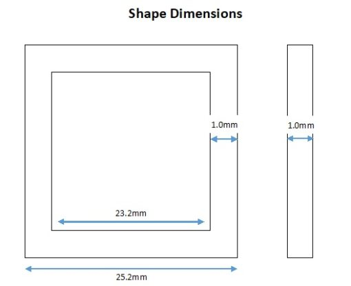 Rhodium Plated Square Shape - 25mm (6 Pkg)