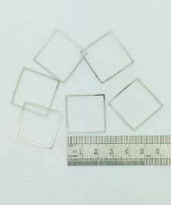 Rhodium Plated Square Shape - 25mm (6 Pkg)