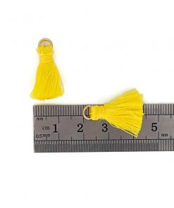 Pair of 20mm Silk Tassels with Jump Rings - Lemon