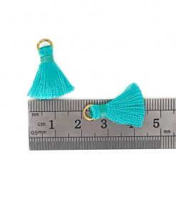 Pair of 20mm Silk Tassels with Jump Rings - Teal