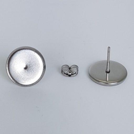 Stainless Steel Ear Studs & Ear Nuts, 12mm Bezel Tray, 10mm Posts 40 Pk.1